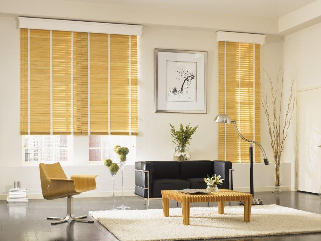 Graber blinds with tape and cornice box valance
