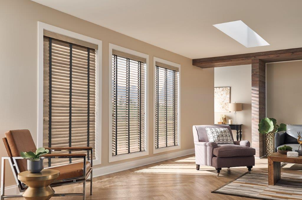 Graber stain blinds with tape